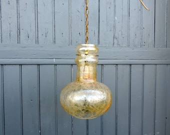 Vintage French mid century, crackle glass ceiling light, pendant light
