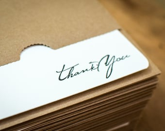 Letterpress Rustic Script Thank You Note Cards with Sturdy Kraft Paper Envelopes Handmade on a century old letterpress, o
