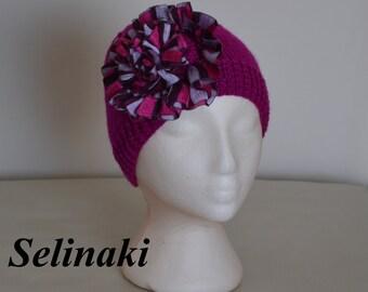 Knit Hat Purple Fuschia Frilled Flower