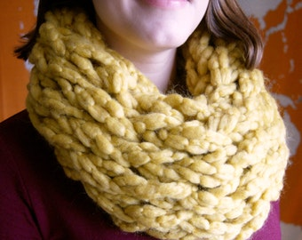 Mustard Chunky Knit Infinity Scarf