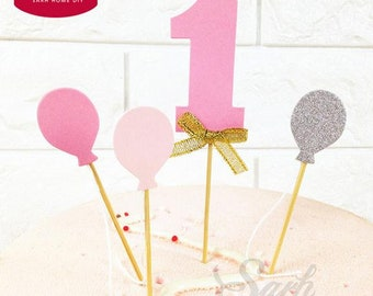 1 PACK First Year Packing Colorful Balloon Number 1 Cake Topper with Toothpick Cake Decoration for Birthday Lovely Gift / 1st birthday cake