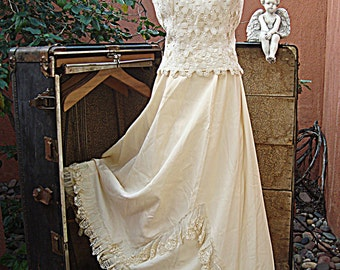 Vintage 3 Piece Ivory Wedding Skirt Petticoat & Camisole Blouse With Antique Borrowed Lace Blue Ribbons Size S