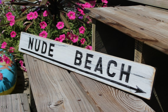 Wooden Coastal Decor: Items Similar To Beach Sign Nude Vintage Style Nautical
