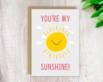 Mother's Day Card Card for Mum Birthday Card Mom Love Card Cute Card for Her Girlfriend Card You're My Sunshine Funny Love Card