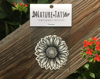 Sunflower Temporary Tattoo, Wild Flower, Botanical, Floral, Nature Tattoo