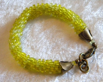 Yellow Smooth 4mm Rondelle Jade Kumihimo Bracelet with Antique Bronze Findings, Japanese Braiding, Asian, Chinese Jade
