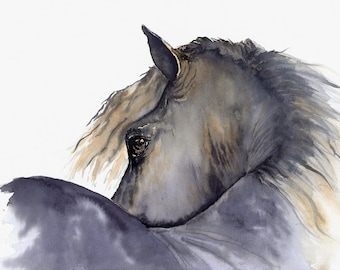 """horse painting """"Looks Twice"""" giclee print of original watercolor painting"""