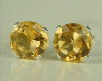 MothersDaySale Citrine Stud Earrings Sterling Silver 6mm Round 1.60ctw