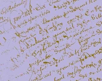 French Script Fabric, Lavender