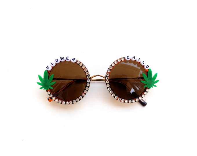 Flower Child decorated festival sunglasses by Baba Cool with mini pot leaves, I love you Mary Jane!
