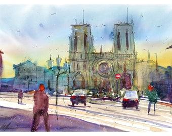 Fine Art Print Notre Dame Paris France Watercolor Sketch Illustration Cityscape Town Scene Giclee High Quality Urban Impressionist Landscape