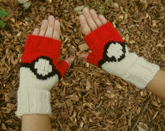 Pokemon Fingerless Gloves Pokemon Inspired Knit Pokeball Gloves Knitted Pokemon Go Trainer Gloves Hand Knitted Pokeball Women & Men sizes