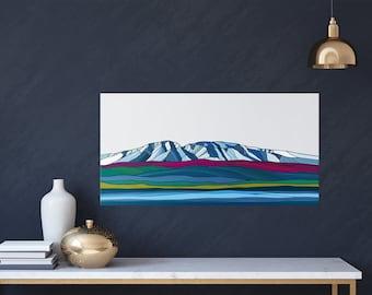 Canvas  or metal wall art Sleeping Lady Alaska Mount Susitna Wall art artwork colorful wall display mountain illustration