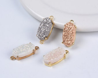 Wholesale Gold Plated Oval Rainbow Natural Titanium Agate Druzy Connector Double Loops Drusy Charm 7*14mm
