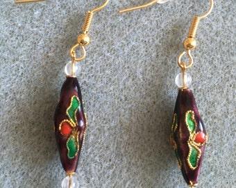 purple diamond shape cloisonné earrings