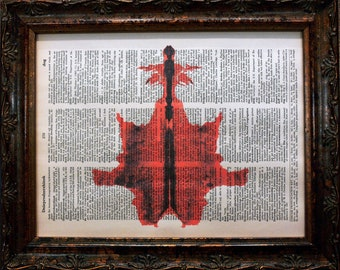 Rorschach Ink Blot 6 in Red Art Print on Dictionary Book Page