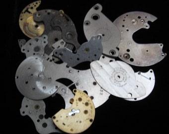 Destash Steampunk Watch Clock Parts Movements Plates Art Grab Bag RP 59
