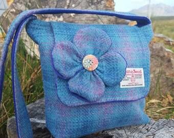 Harris Tweed Shoulder Bag with Clover. Handmade on the beautiful Isle of Skye