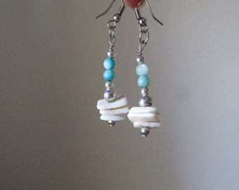 Seashells Earrings handmade Blue White