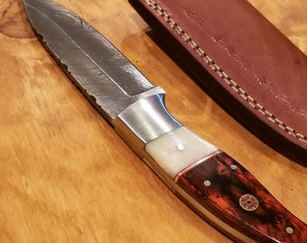 Handmade Bone Handle Hunting Knife Damascus Steel Blade Collection With Sheath Premium Outdoors (A264)