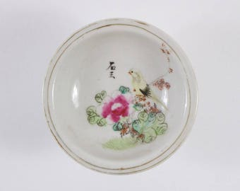 Vintage 1930s Chinese porcelain bird and inscription stem dish
