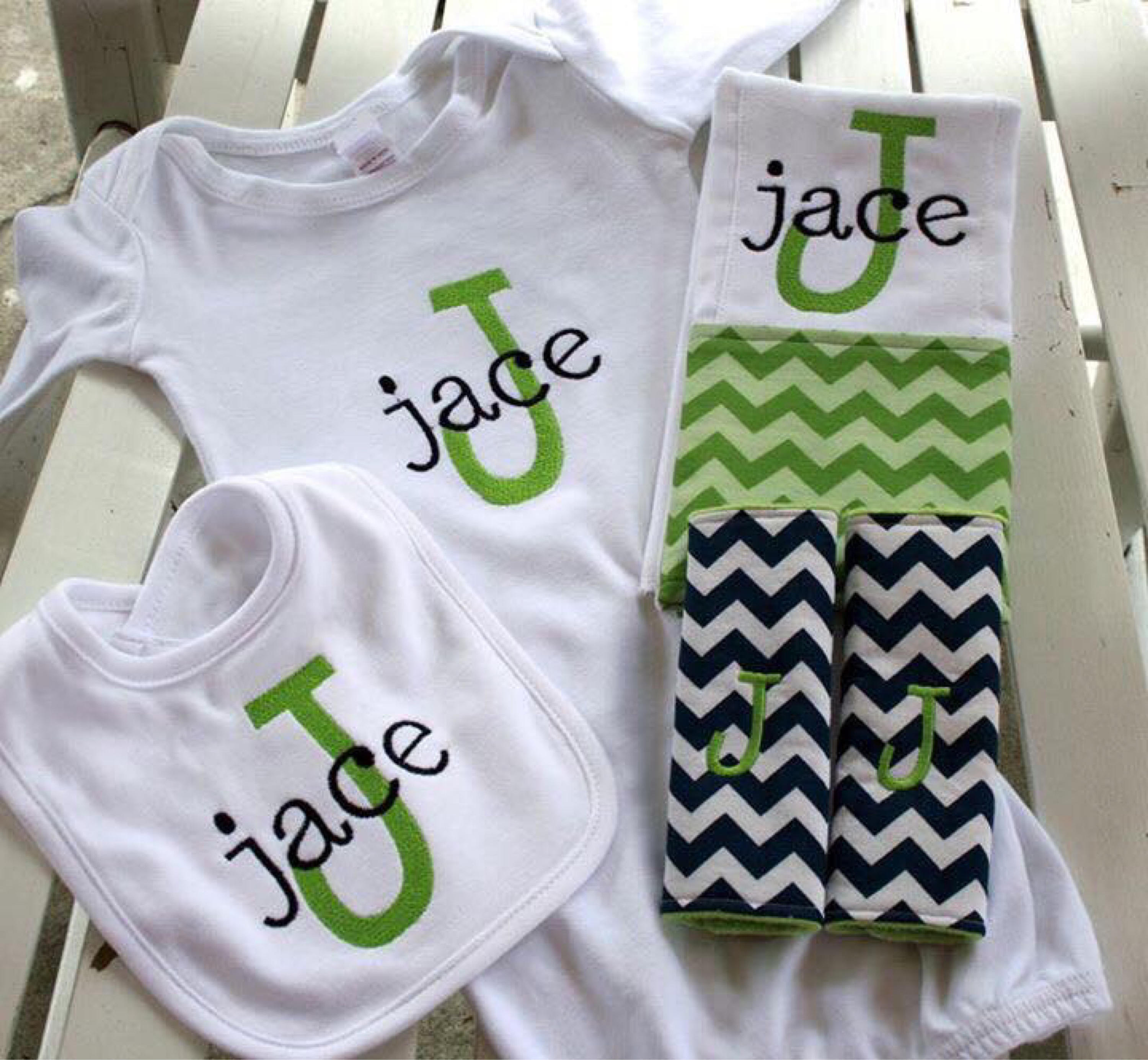 Baby boy t Set Personalized Monogrammed baby boy gown with