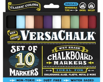 Chalkboard Chalk Markers by VersaChalk - Classic Colors (10-Pack)