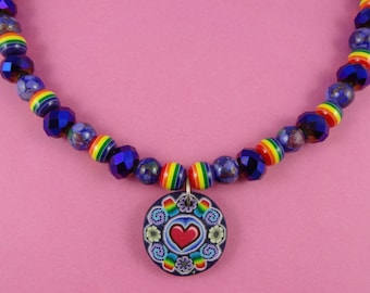 Purple and Rainbow Necklace - polymer clay pendant, dark purple beads, boho bohemian, cute kitsch retro, hippy folk tribal, colourful bold