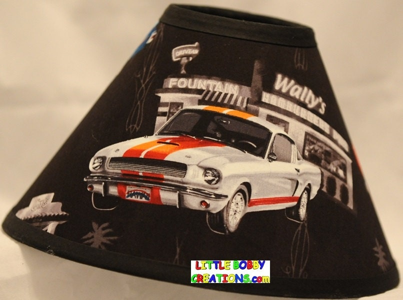 Muscle Cars Vintage Ford Mustang Fabric Lamp Shade 10 Sizes