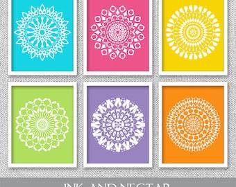 Printable Wall Art, Colorful Wall Art, Mandala Art, Mandala Prints, Printable Artwork, Bedroom Art, Living Room Art, Set of 6 Prints