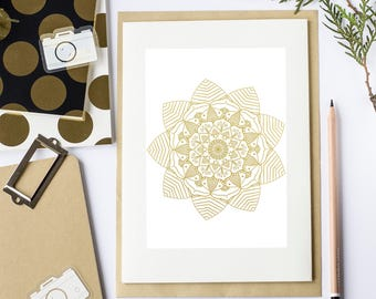 Mandala gold, digital pdf file to print for journal (A5, 148 x 210 mm / 5.8 x 8.3 in)