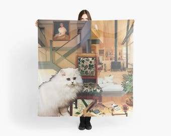 Virgo StarCat Extra Large Scarf - Zodiac Astrological Sign Collage Art - August September Birthday Gift for the Cat Lover - 55 inch square