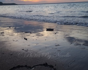 Heart in Sand at Sunset