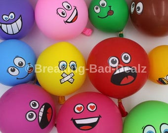 Emoji Smiley Face Balloons assorted packs Blue Red Green Yellow Brown Lime pink