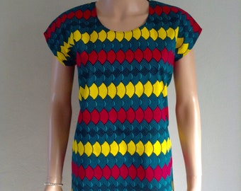 Tunic cotton wax print multicolored African