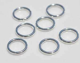 50 Soldered Jump Rings Bright Silver Tone F127