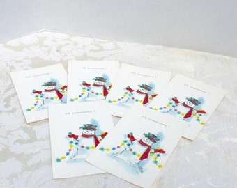 Set of Six Vintage Snowman Cards / Christmas Cards and Envelopes by Norcross
