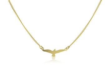 Bird Necklace, Gold Bird Necklace, Bird Jewelry, Animal Necklace, Gold Pendant Necklace, Gold Plated Jewelry, Short Gold Chain Necklace