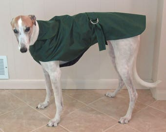 R4 Light Weight Forest Green Greyhound Raincoat.  Free Shipping!