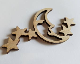 Moon and Stars Wooden Cut Outs ( Embellishments, Scrap Booking, Nursery Wall Decor )