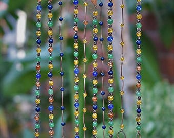Amber-gifts for her, unique wind chime, wind chime, garden decor, beaded wind chime