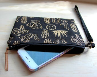 Black & gold cactus pouch / clutch / purse / pencil case zip closure