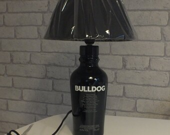 GGrrrrrr Bulldog London Gin Bottle (upcycled) Table Lamp with Lamp Shade.