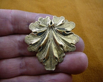 Tropical leaf leaves tree Victorian repro BRASS pin pendant brooch B-Leaf-12