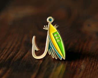 Fly Fishing Lure Enamel Lapel Pin Badge // Gift for Fisherman Fish PNW Pacific Northwest River