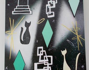 Mid Century Modern Retro Painting Cats Night At The Door Eames Era