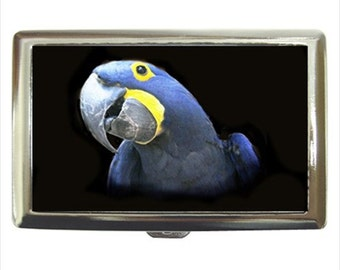 Hyacinth Macaw Parrot Bird Money Cigarette Case Chrome Holder Wallet