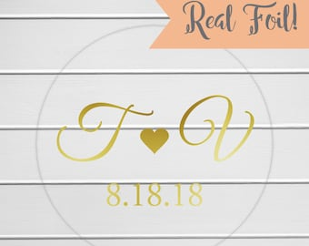 Initials Wedding Sticker, Gold Foil on Clear Transparent Personalized Wedding Invitation Sticker, Save The Date Stickers (#292-CF)