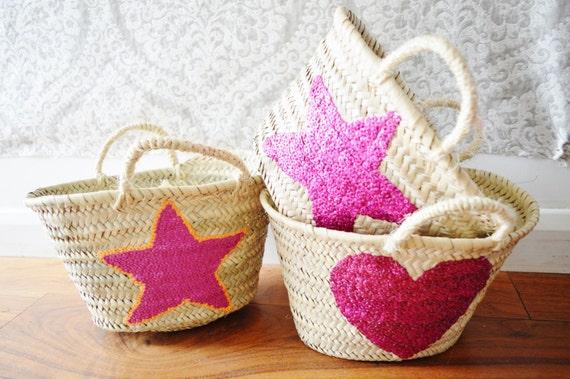 Kids Basket Panier -great for Storage, nursery, beach, picnic, holiday, Marrakech Basket Bag, Ramadan, Eid