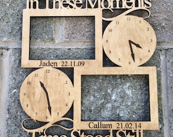 In These Moments Time Stood Still Wooden Engraved Photo Frame Personalised New Baby or Birthday Gift Personalized Mother's Father's Day